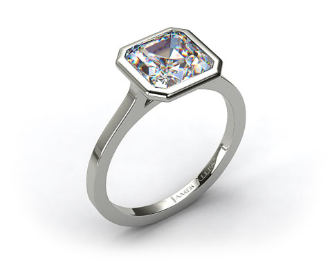 14k White Gold Bezel Solitaire Engagement Ring (Asscher Center)